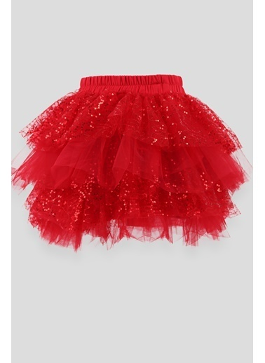 Breeze Kız Çocuk Pullu Tütü Etek Kırmızı (3-12 Yaş) Kırmızı